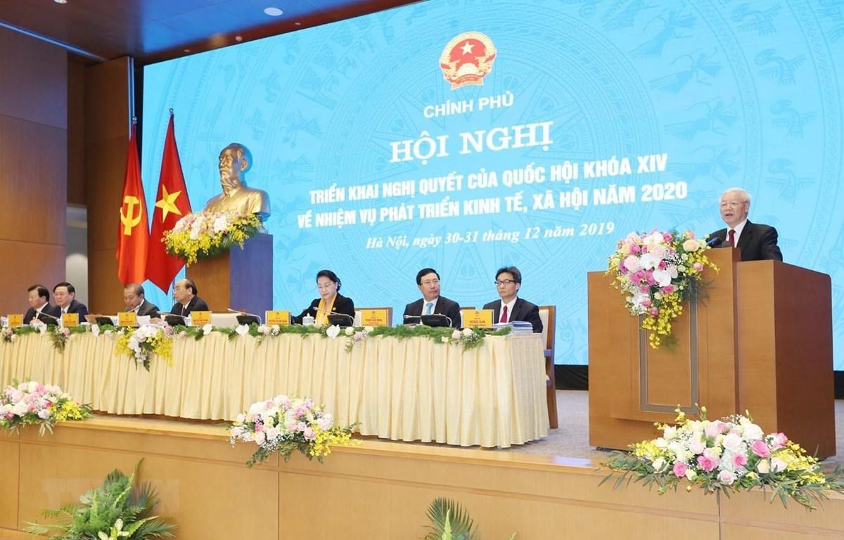Tổng Bí thư, Chủ tịch nước Nguyễn Phú Trọng phát biểu tại hội nghị. (Ảnh: Trí Dũng/TTXVN)