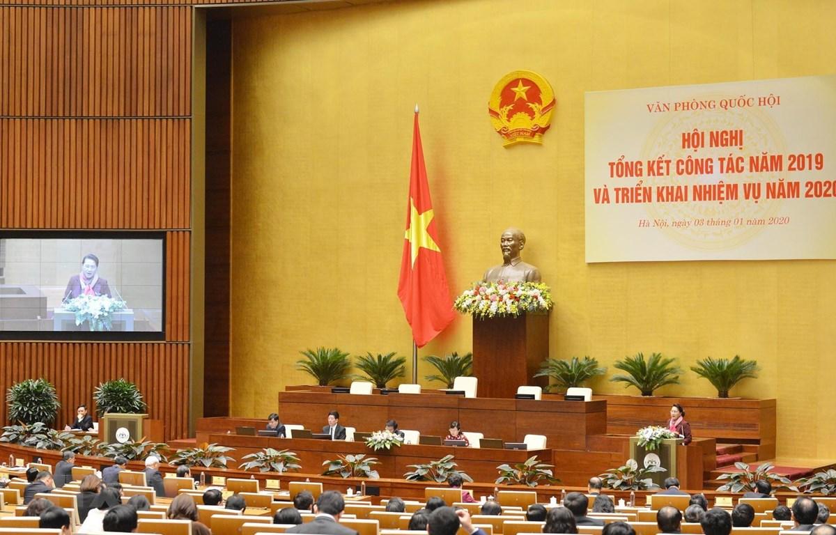 Chủ tịch Quốc hội Nguyễn Thị Kim Ngân phát biểu chỉ đạo hội nghị. (Ảnh: Trọng Đức/TTXVN)