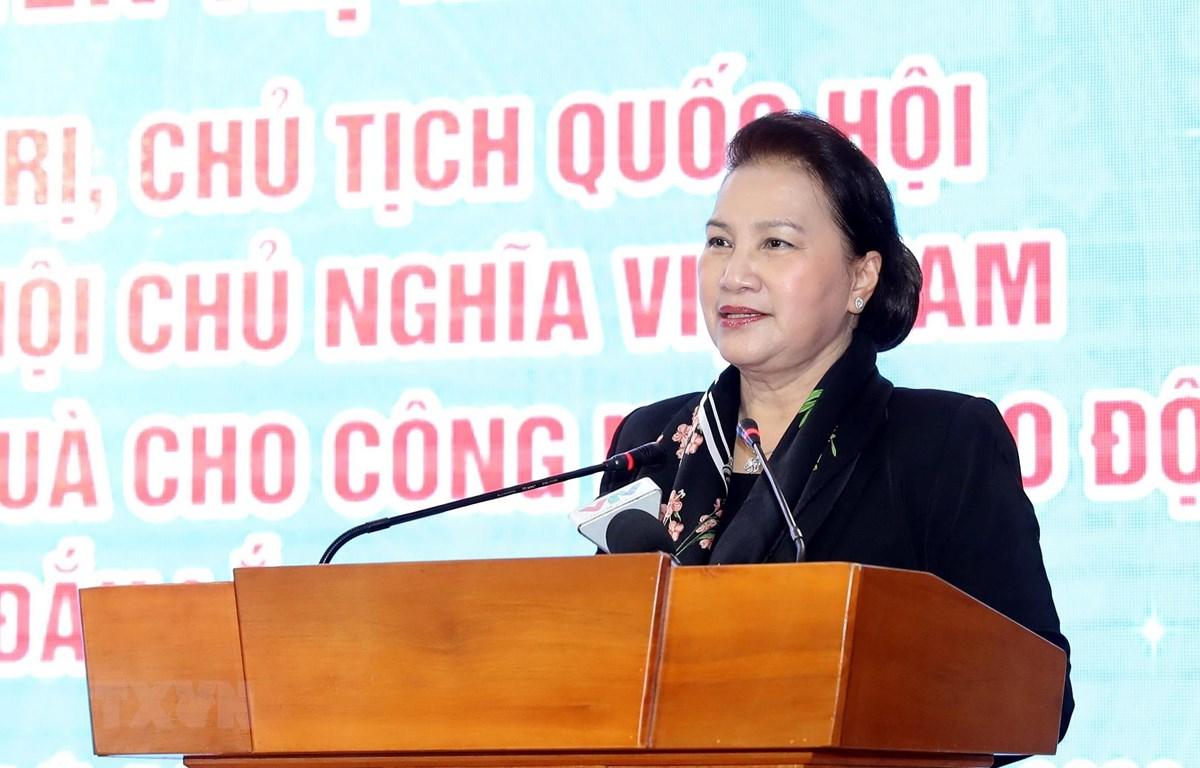 Chủ tịch Quốc hội Nguyễn Thị Kim Ngân phát biểu. (Ảnh: Trọng Đức/TTXVN)