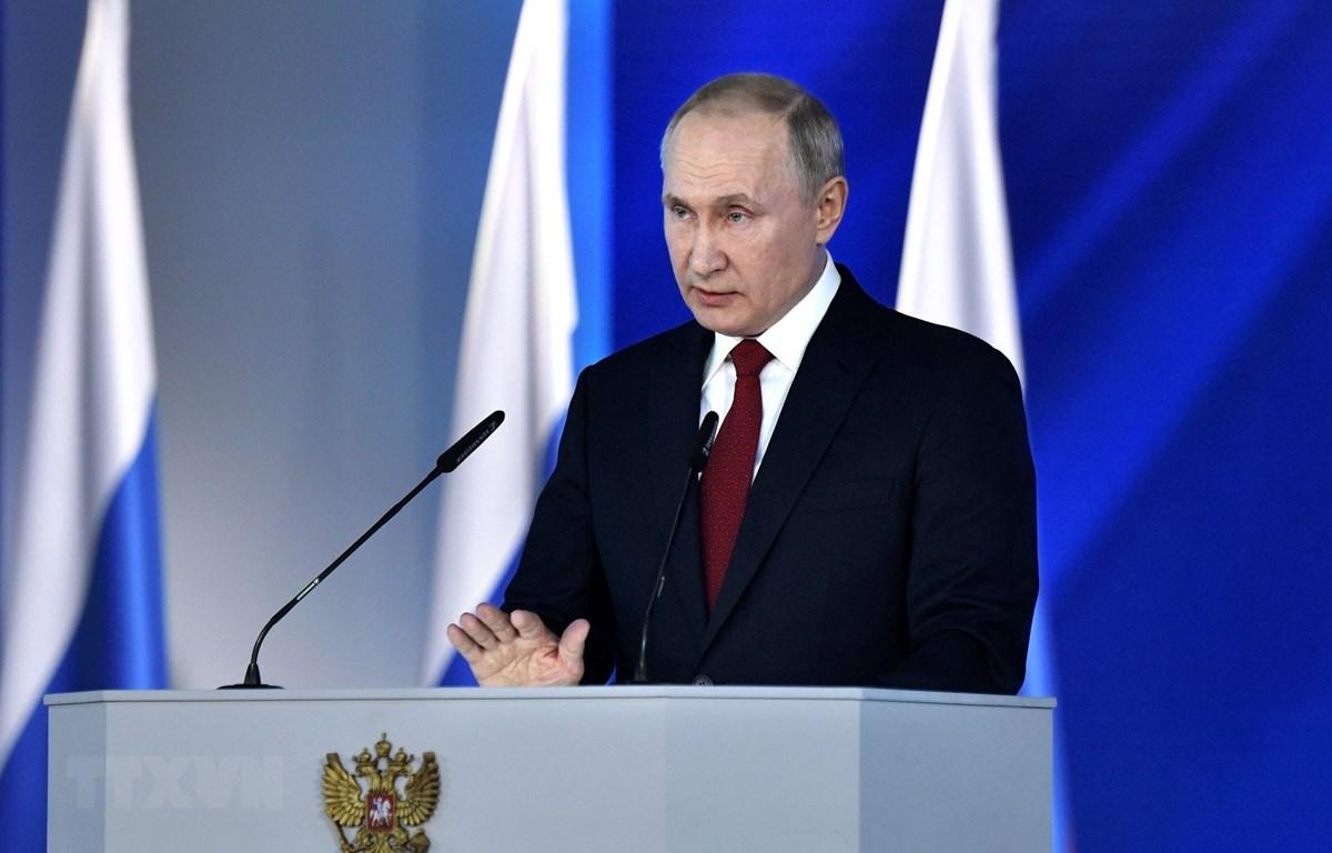 Tổng thống Nga Vladimir Putin đọc Thông điệp liên bang năm 2020 tại thủ đô Moskva ngày 15/1/2020. (Nguồn: AFP/TTXVN)