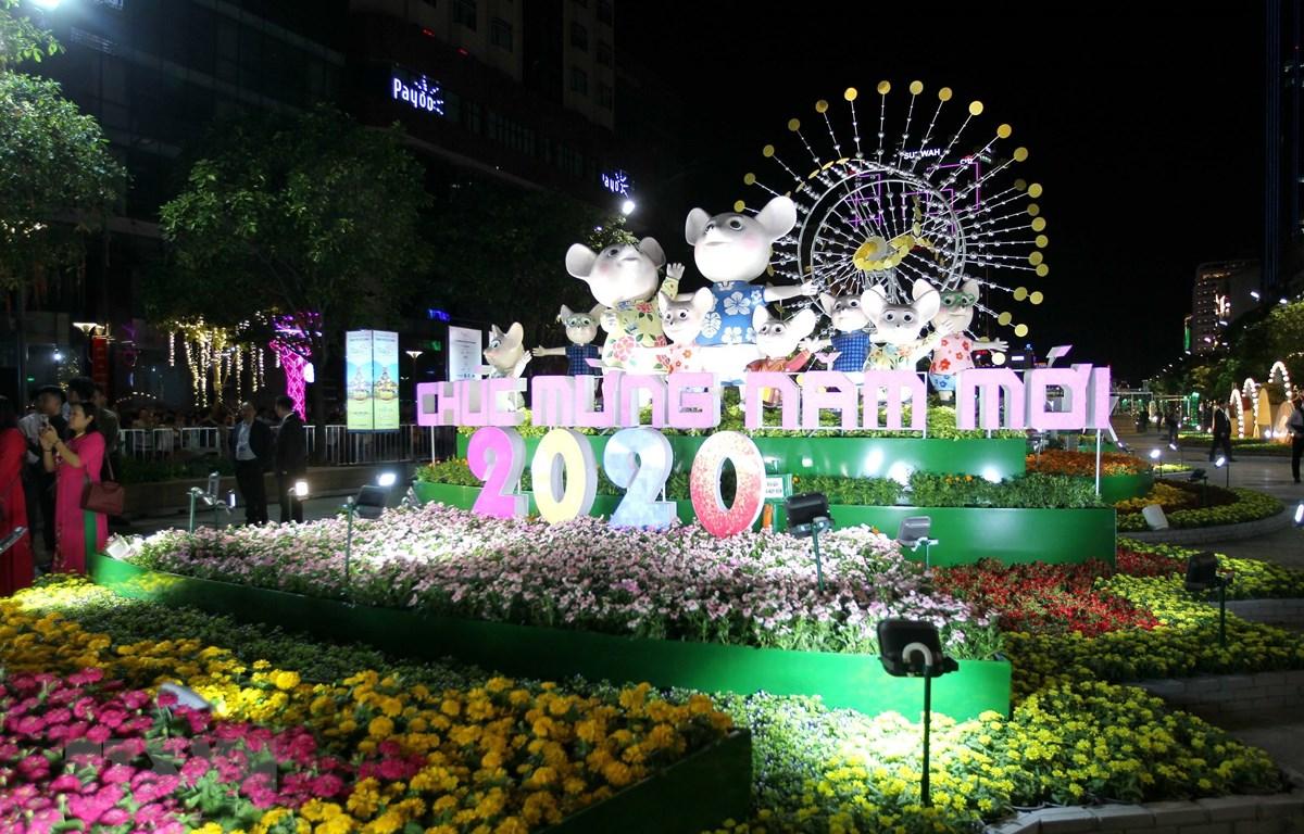 Một góc Đường hoa Nguyễn Huệ Thành phố Hồ Chí Minh Tết Canh Tý 2020. (Ảnh: Thanh Vũ/TTXVN)