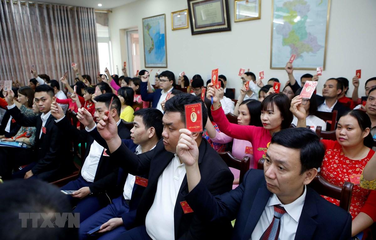 Các đại biểu biểu quyết thông qua Nghị quyết của Đại hội Đảng bộ. (Ảnh: Phạm Kiên/TTXVN)