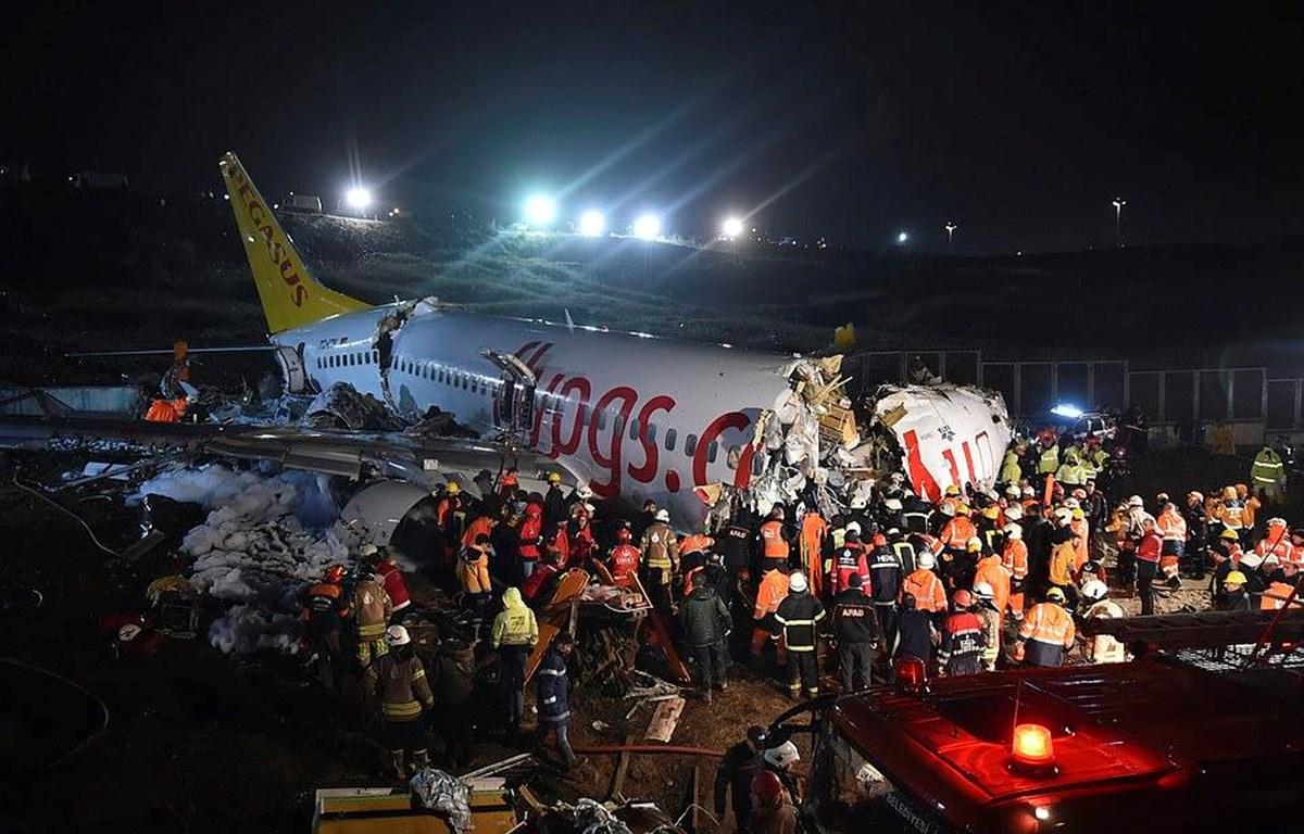 Hiện trường vụ tai nạn máy bay. (Nguồn: AP)