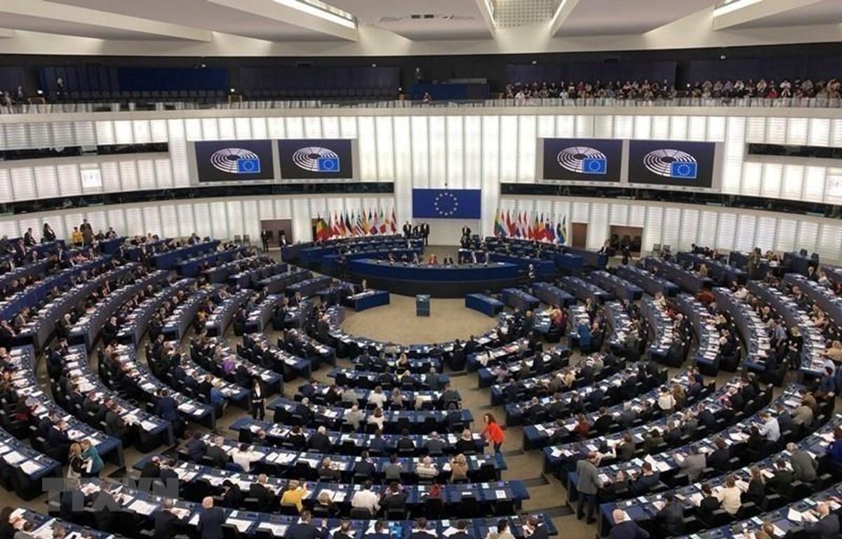 Quang cảnh phiên họp toàn thể tại Trụ sở Nghị viện châu Âu ở Strasbourg (Pháp). (Nguồn: TTXVN phát)