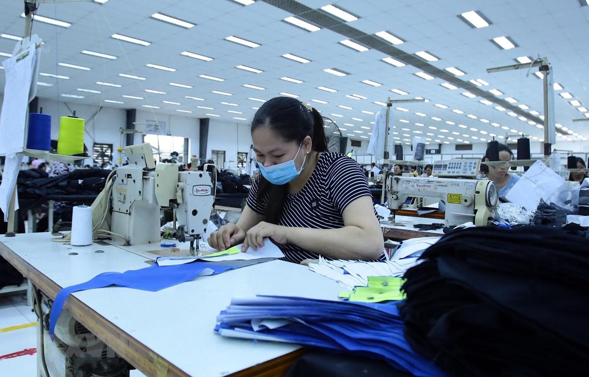 Sản xuất các mặt hàng may mặc tại Công ty  Kydo tại Khu Công nghiệp Phố nối A, Hưng Yên. (Ảnh: Phạm Kiên/TTXVN)