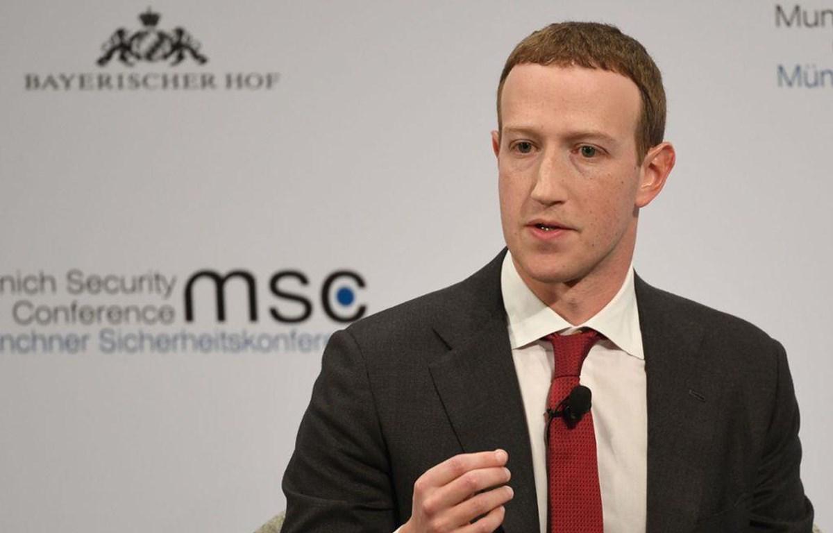 Giám đốc điều hành (CEO) Facebook Mark Zuckerberg phát biểu tại Hội nghị an ninh Munich, Đức. (Nguồn: dpa)