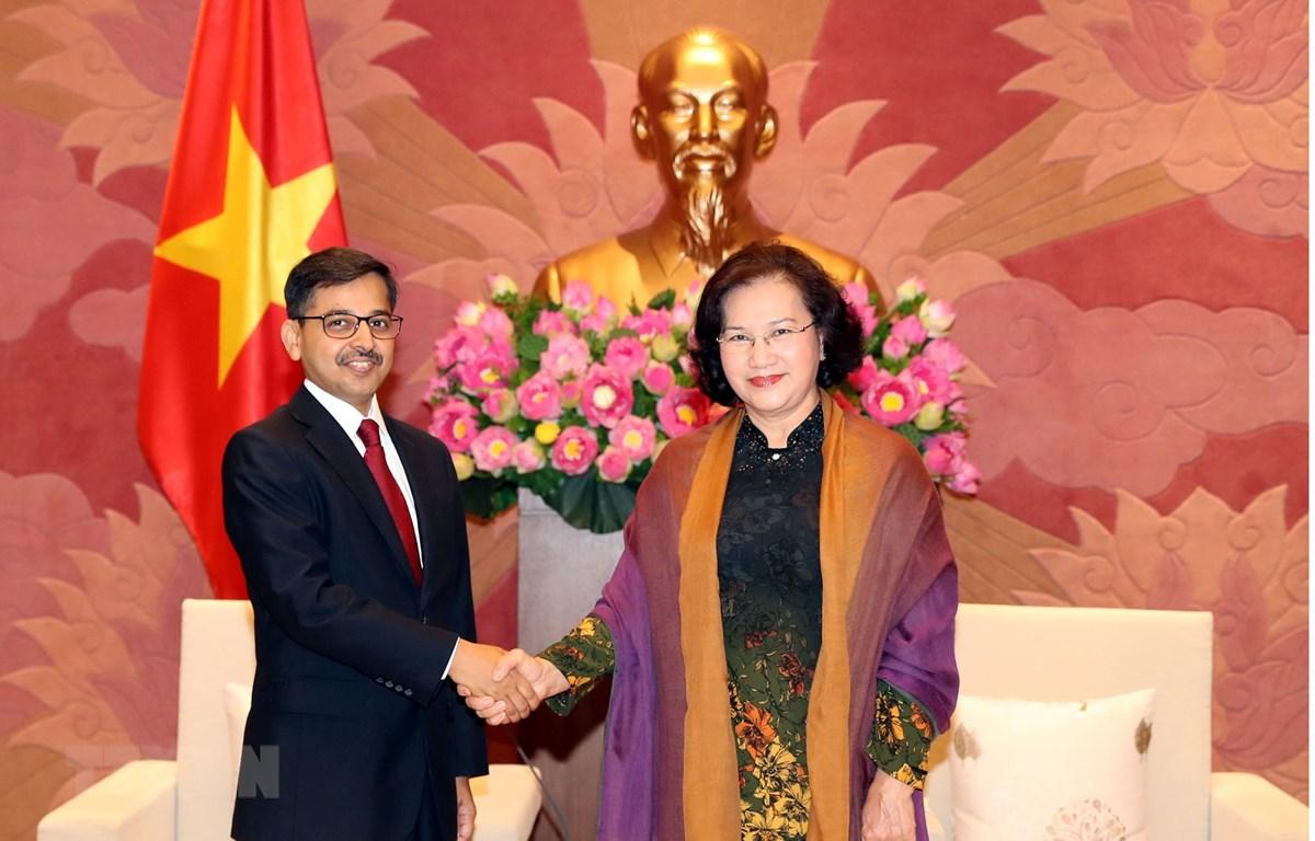 Chủ tịch Quốc hội Nguyễn Thị Kim Ngân tiếp Đại sứ Đặc mệnh toàn quyền Cộng hòa Ấn Độ tại Việt Nam Pranay Verma đến chào nhân dịp nhận nhiệm vụ công tác tại Việt Nam. (Ảnh: Trọng Đức/TTXVN)