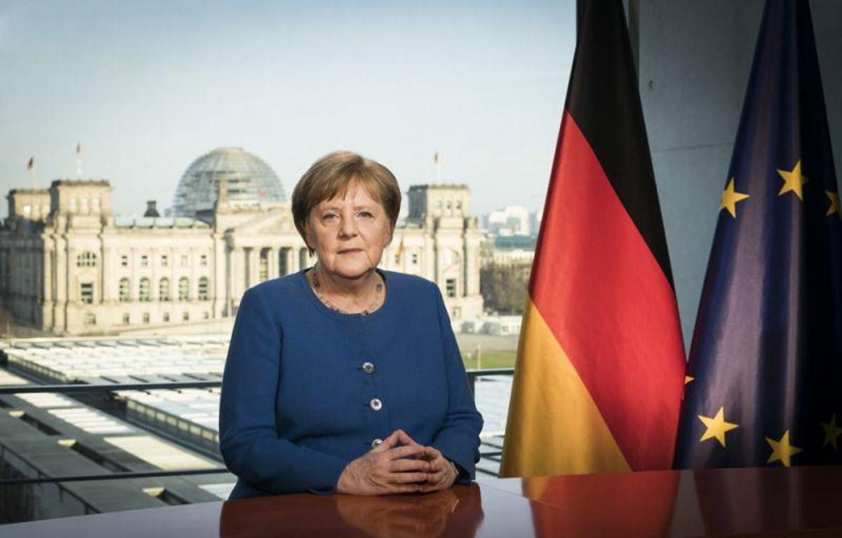 Thủ tướng Đức Angela Merkel phát biểu trực tiếp toàn quốc về tình hình dịch COVID-19. (Nguồn: Getty Images)