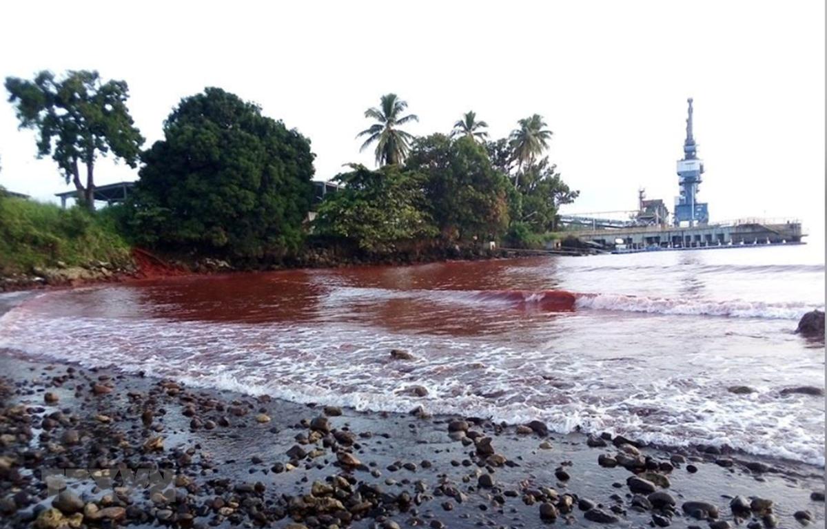 Bùn tràn gây ô nhiễm ở tỉnh Madang, Papua New Guinea, làm nhuộm đỏ nước biển và khu vực ven bờ. (Nguồn: google)