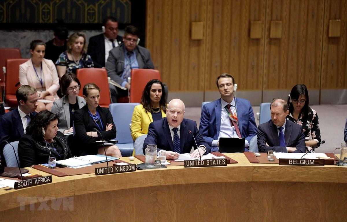 Trong ảnh: Đặc phái viên Nhà Trắng phụ trách vấn đề Trung Đông Jason Greenblatt (giữa, phía trước) phát biểu tại phiên họp Hội đồng Bảo an LHQ ở New York, Mỹ ngày 23/7/2019. (Nguồn: THX/TTXVN)