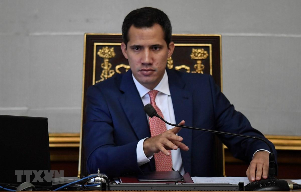 Trong ảnh: Thủ lĩnh đối lập Juan Guaido tại cuộc họp Quốc hội ở Caracas, Venezuela, ngày 13/8. (Nguồn: AFP/TTXVN)