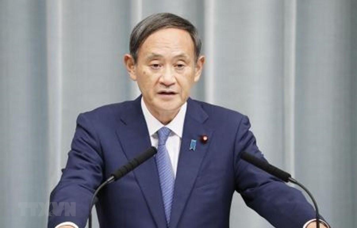 Trong ảnh: Chánh Văn phòng Nội các Nhật Bản Yoshihide Suga phát biểu tại Tokyo. (Nguồn: Kyodo/TTXVN)
