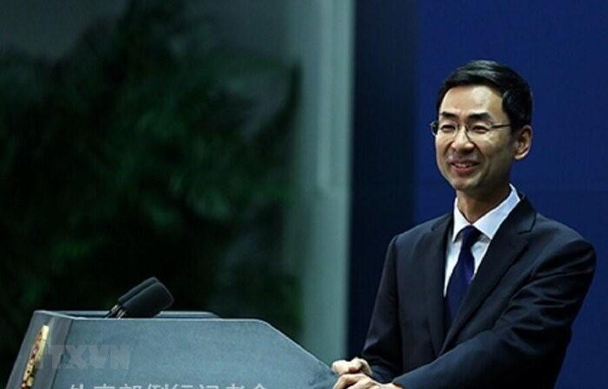 Người phát ngôn Bộ Ngoại giao Trung Quốc Cảnh Sảng tại cuộc họp báo ở Bắc Kinh, Trung Quốc. (Nguồn: IRNA/TTXVN)
