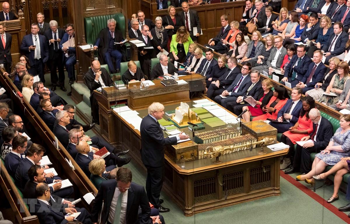Trong ảnh: Thủ tướng Anh Boris Johnson phát biểu tại phiên họp Hạ viện ở thủ đô London ngày 3/9/2019. (Nguồn: AFP/TTXVN)