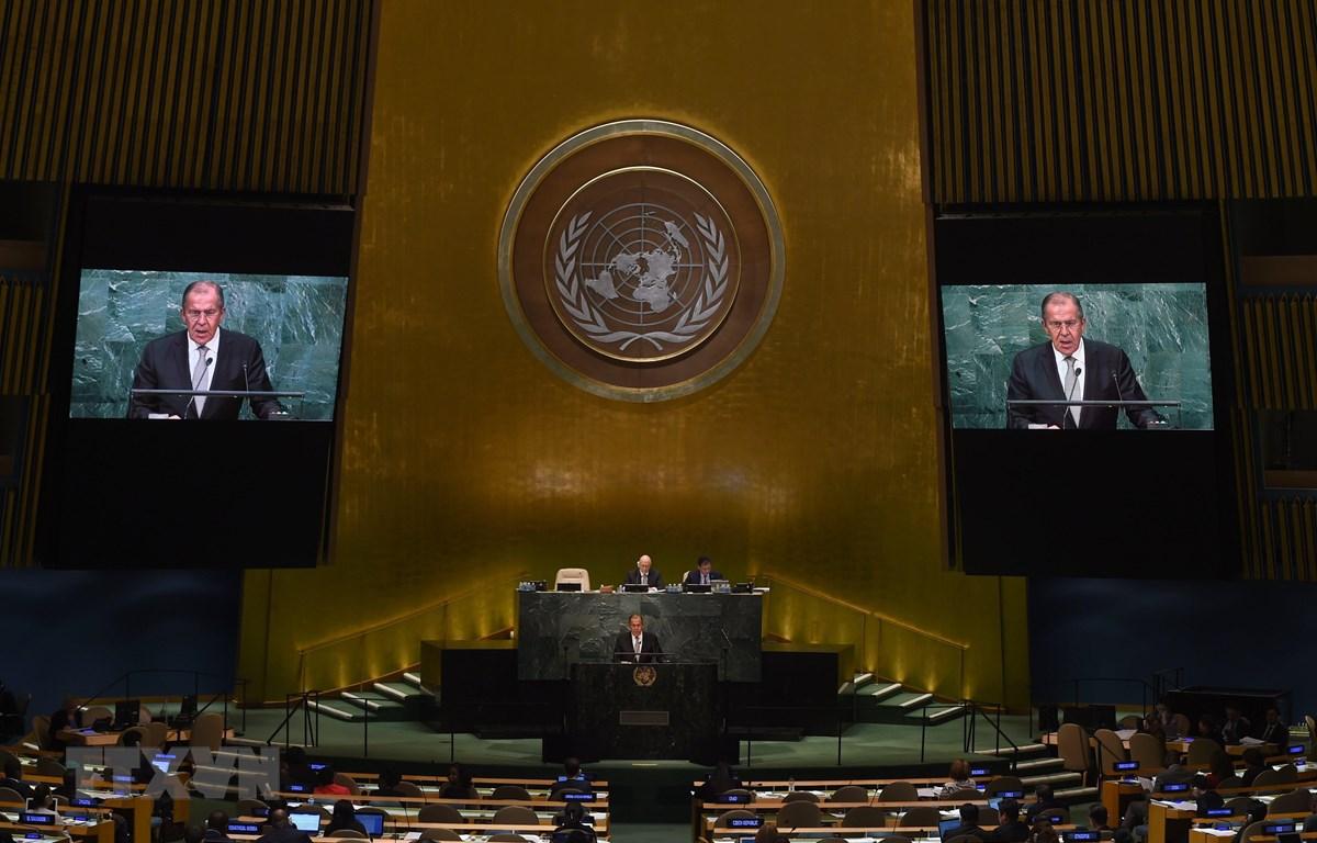 Trong ảnh (tư liệu): Ngoại trưởng Nga Sergei Lavrov phát biểu tại một khóa họp của Đại hội đồng Liên hợp quốc. (Nguồn: AFP/TTXVN)