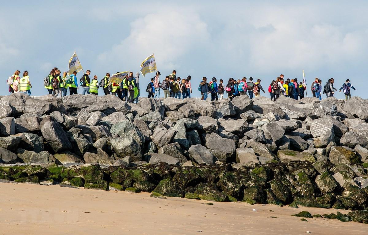 """Trong ảnh: Các nhà hoạt động tham gia chiến dịch """"Làm sạch bãi biển"""" tại Oostende, Bỉ, ngày 17/9. (Nguồn: AFP/TTXVN)"""