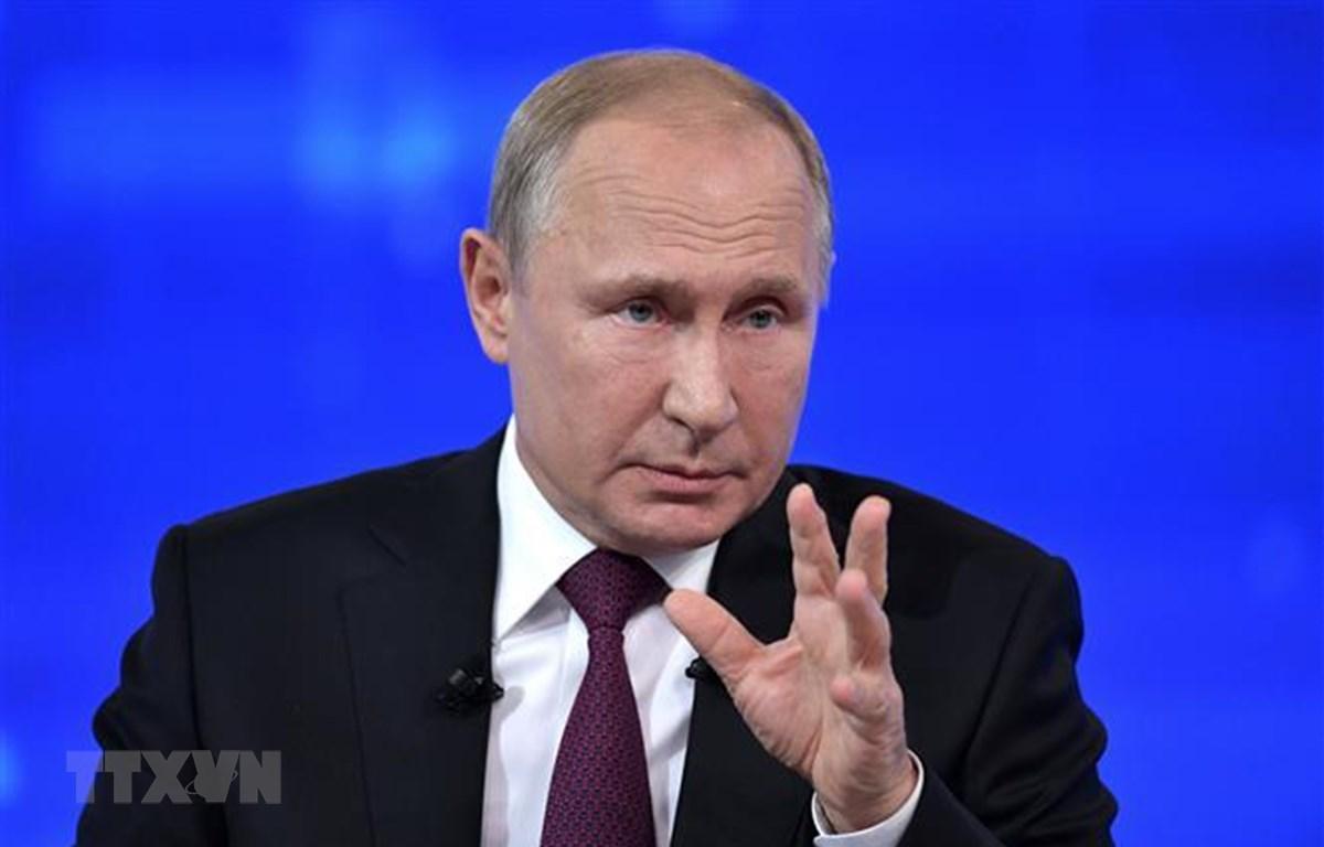 Trong ảnh: Tổng thống Nga Vladimir Putin phát biểu tại một cuộc họp ở Moskva ngày 23/8/2019. (Nguồn: AFP/TTXVN)