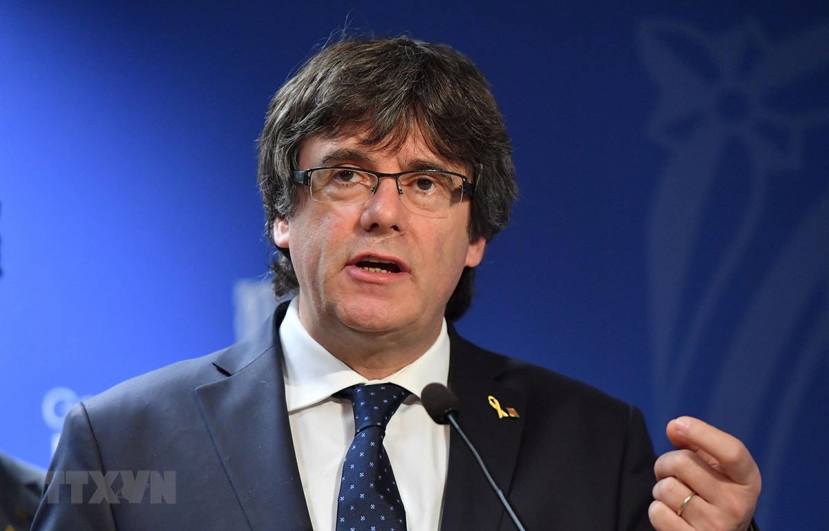 Cựu Thủ hiến vùng Catalonia Carles Puigdemont tại cuộc họp báo ở Brussels, Bỉ ngày 7/9/2018. (Nguồn: AFP/TTXVN)