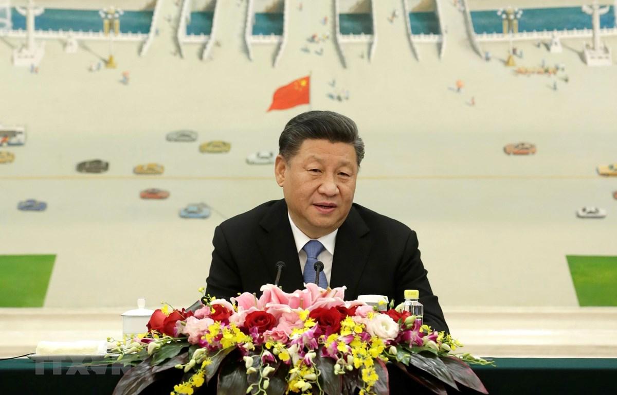 Chủ tịch Trung Quốc Tập Cận Bình phát biểu tại Diễn đàn Kinh tế Mới ở Bắc Kinh, Trung Quốc, ngày 22/11/2019. (Ảnh: AFP/TTXVN)