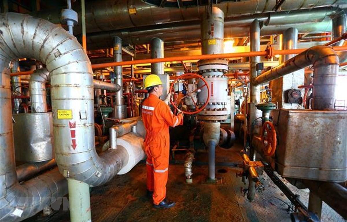 Hoạt động khai thác dầu khí tại mỏ Bạch Hổ. (Ảnh: Hiền Anh/TTXVN phát)