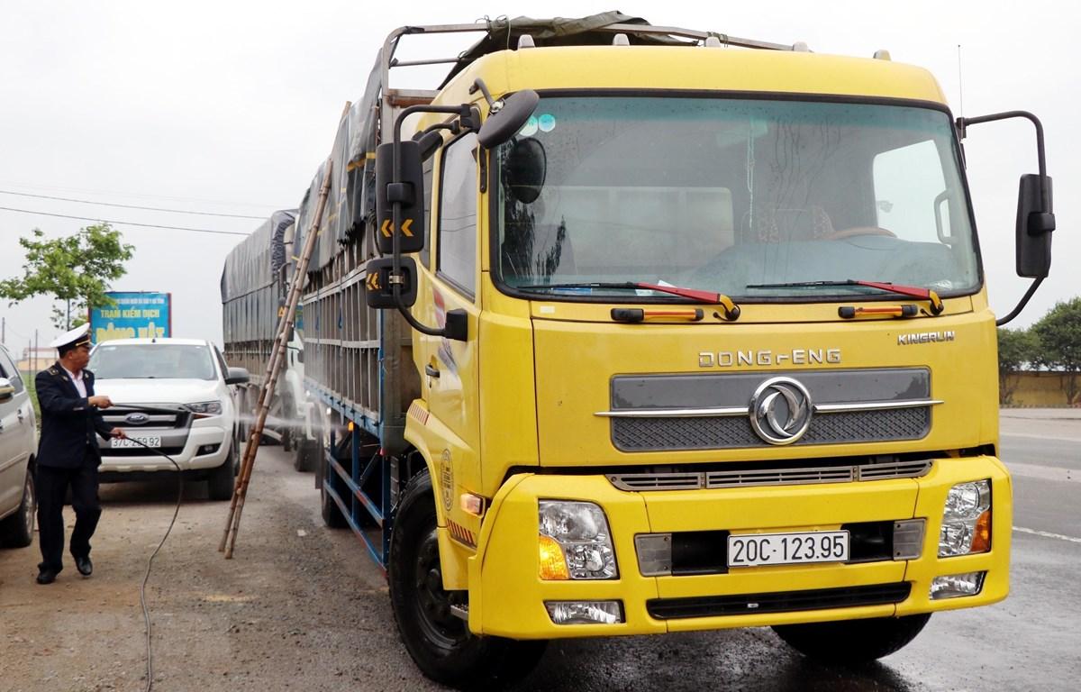 Kiểm tra và tiêu độc khử trùng xe vận chuyển gia súc trên Quốc lộ 1A. (Ảnh Công Tường/TTXVN)