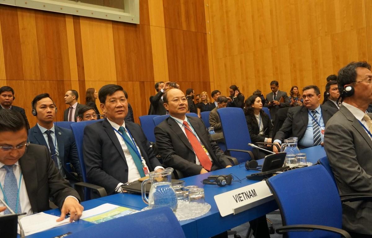 Đoàn Việt Nam tham dự phiên họp. (Ảnh: Vietnam+)