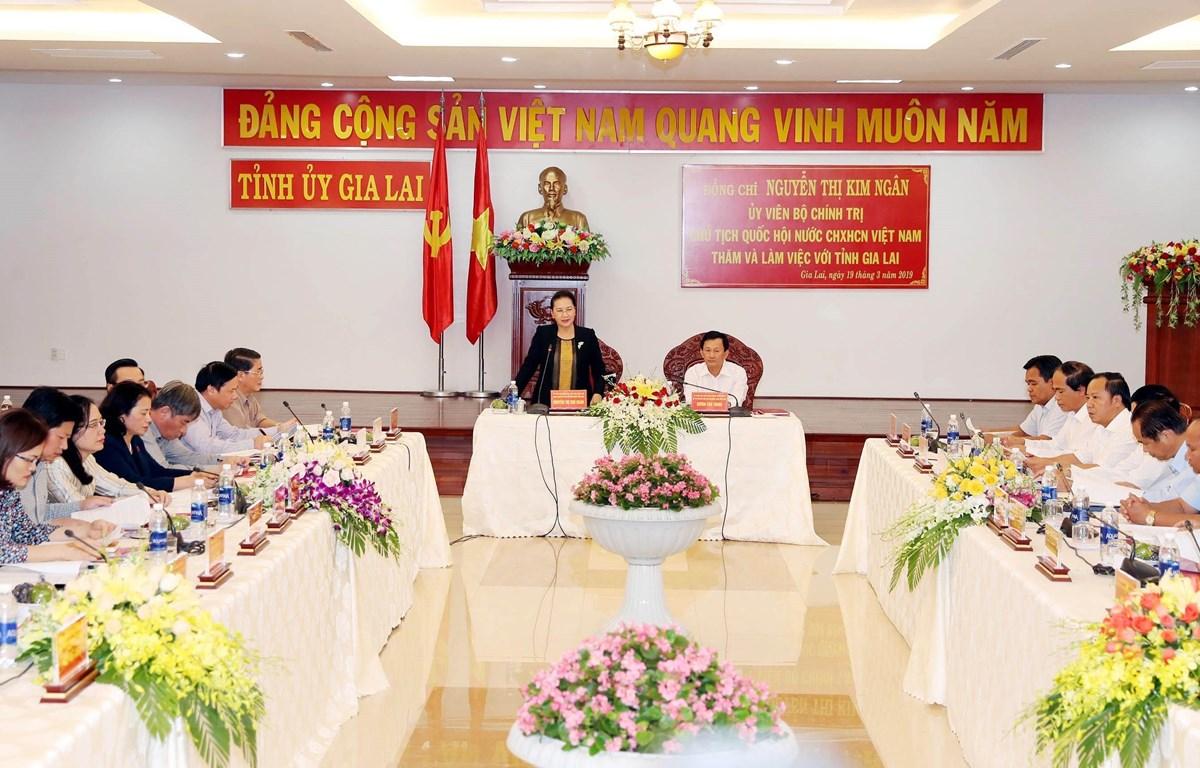 Chủ tịch Quốc hội Nguyễn Thị Kim Ngân phát biểu tại buổi làm việc. (Ảnh: Trọng Đức/TTXVN)
