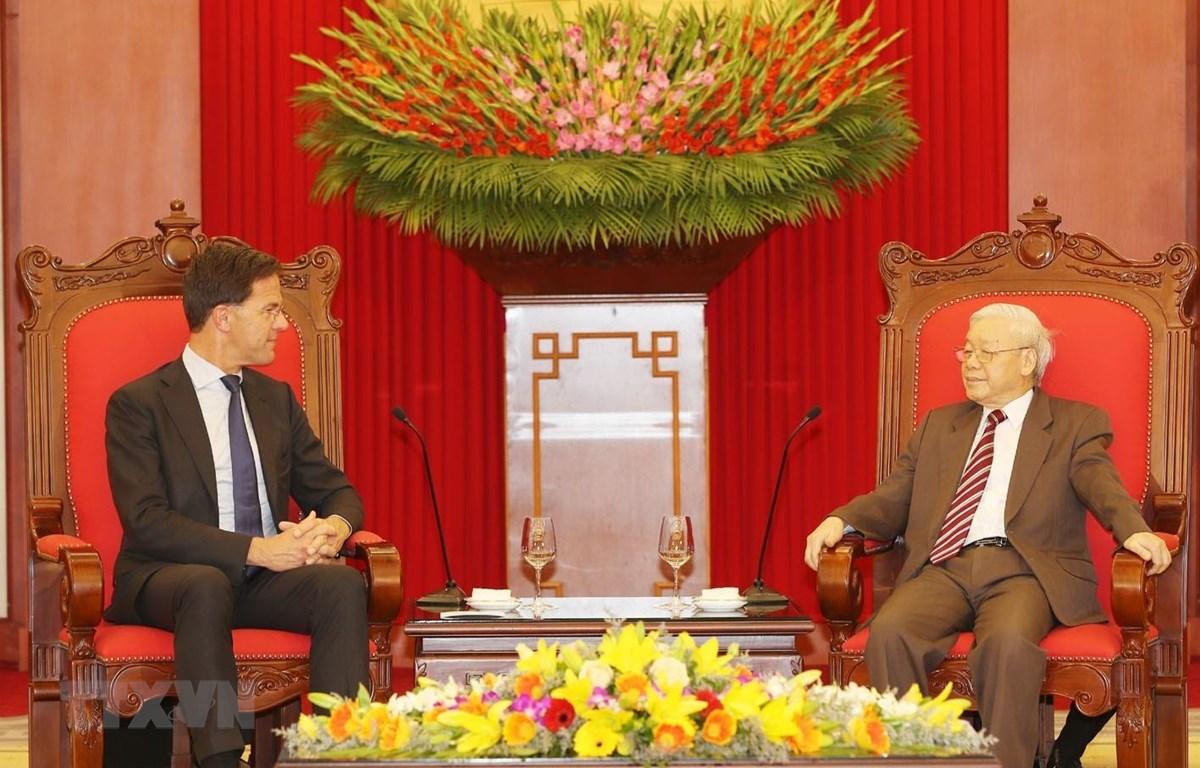Tổng Bí thư, Chủ tịch nước Nguyễn Phú Trọng tiếp Thủ tướng Vương quốc Hà Lan Mark Rutte. (Ảnh: Trí Dũng/TTXVN)