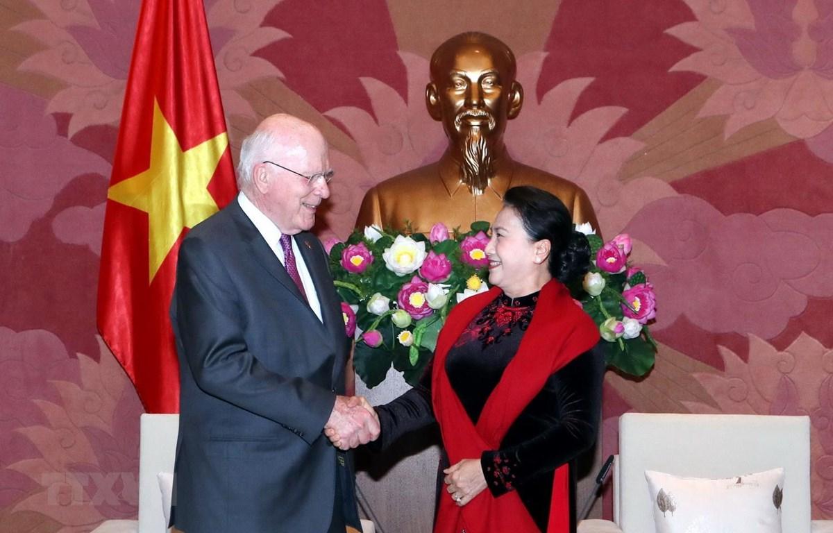 Chủ tịch Quốc hội Nguyễn Thị Kim Ngân và Thượng nghị sỹ Patrick Leahy. (Ảnh: Trọng Đức/TTXVN)