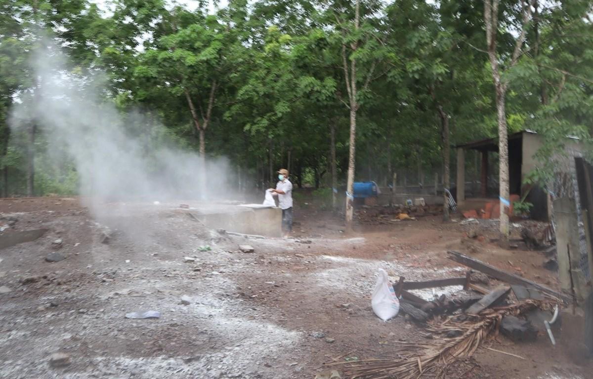Cơ quan chức năng tiến hành các biện pháp tiêu độc, khử trừng tại nơi phát hiện dịch tả lợn châu Phi. (Ảnh: Đậu Tất Thành/TTXVN.)