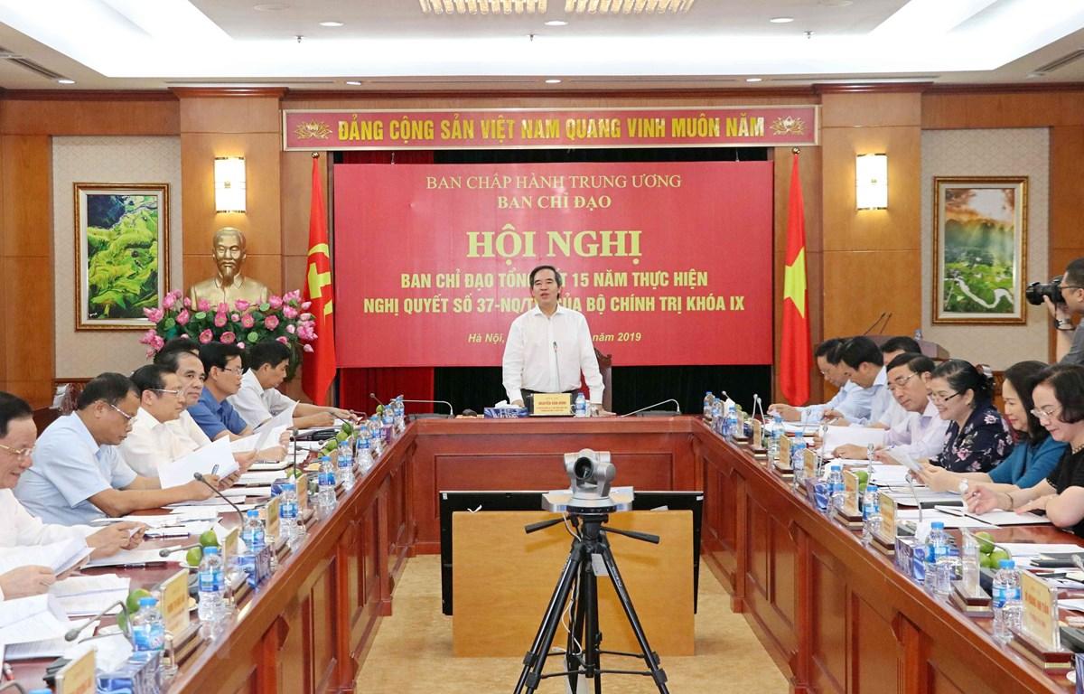 Đồng chí Nguyễn Văn Bình, Trưởng Ban Kinh tế Trung ương, Trưởng Ban Chỉ đạo phát biểu. (Ảnh: Văn Điệp/TTXVN)