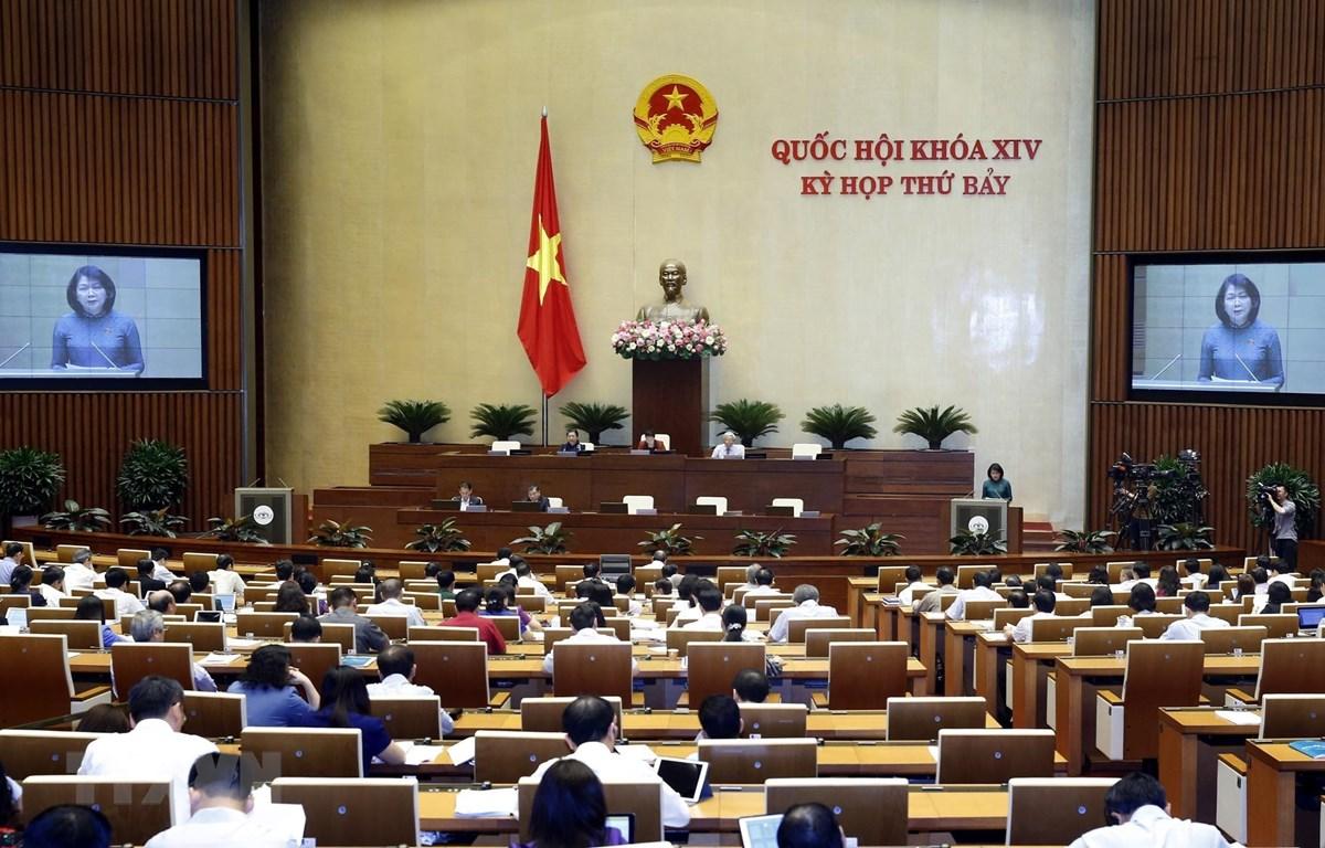 Phó Chủ tịch nước Đặng Thị Ngọc Thịnh trình bày Tờ trình về việc gia nhập Công ước số 98 của Tổ chức Lao động quốc tế về Áp dụng những nguyên tắc của quyền tổ chức và thương lượng tập thể. (Ảnh: Lâm Khánh/TTXVN)