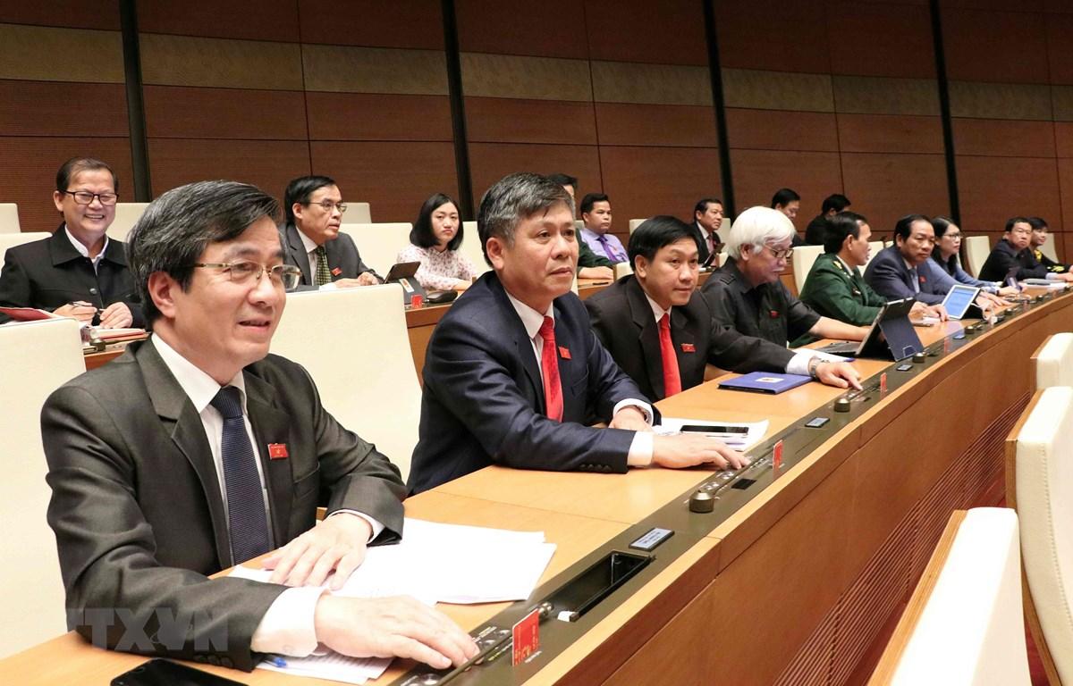Các đại biểu Quốc hội tham gia biểu quyết vào chiều 14/6. (Ảnh: Văn Điệp/TTXVN)