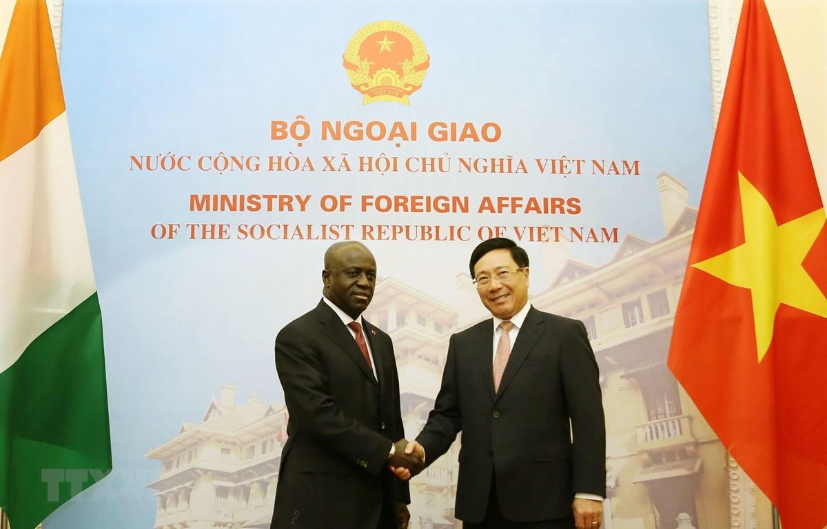 Phó Thủ tướng, Bộ trưởng Ngoại giao Phạm Bình Minh đã có cuộc hội đàm với Bộ trưởng Ngoại giao nước Cộng hòa Côte d'Ivoire Marcel Amon Tanoh. (Ảnh: Nguyễn Dân/TTXVN)