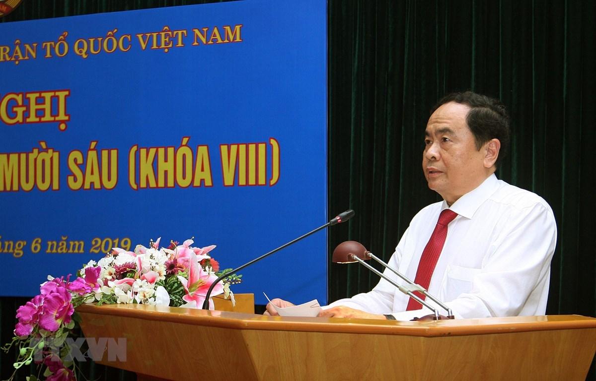 Bí thư Trung ương Đảng, Chủ tịch Ủy ban Trung ương MTTQ Việt Nam Trần Thanh Mẫn phát biểu phát biểu kết luận. (Ảnh: Nguyễn Dân/TTXVN)