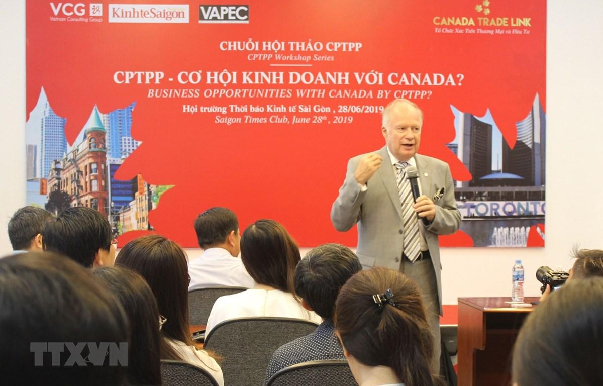 Tọa đàm CPTPP - Cơ hội kinh doanh với Canada. (Ảnh: Xuân Anh/TTXVN)