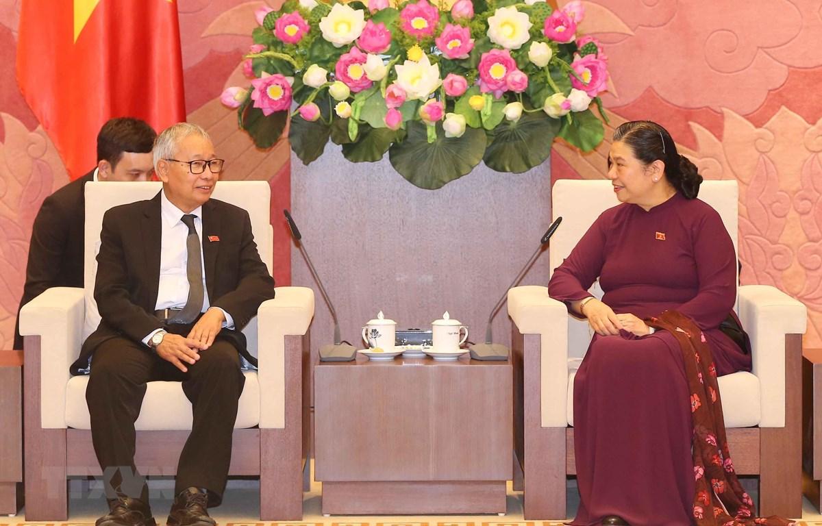 Phó Chủ tịch Thường trực Quốc hội Tòng Thị Phóng tiếp Ủy viên Ban Thường vụ Đảng Liên đoàn Quốc gia vì Dân chủ Myanmar. (Ảnh: Doãn Tấn/TTXVN)