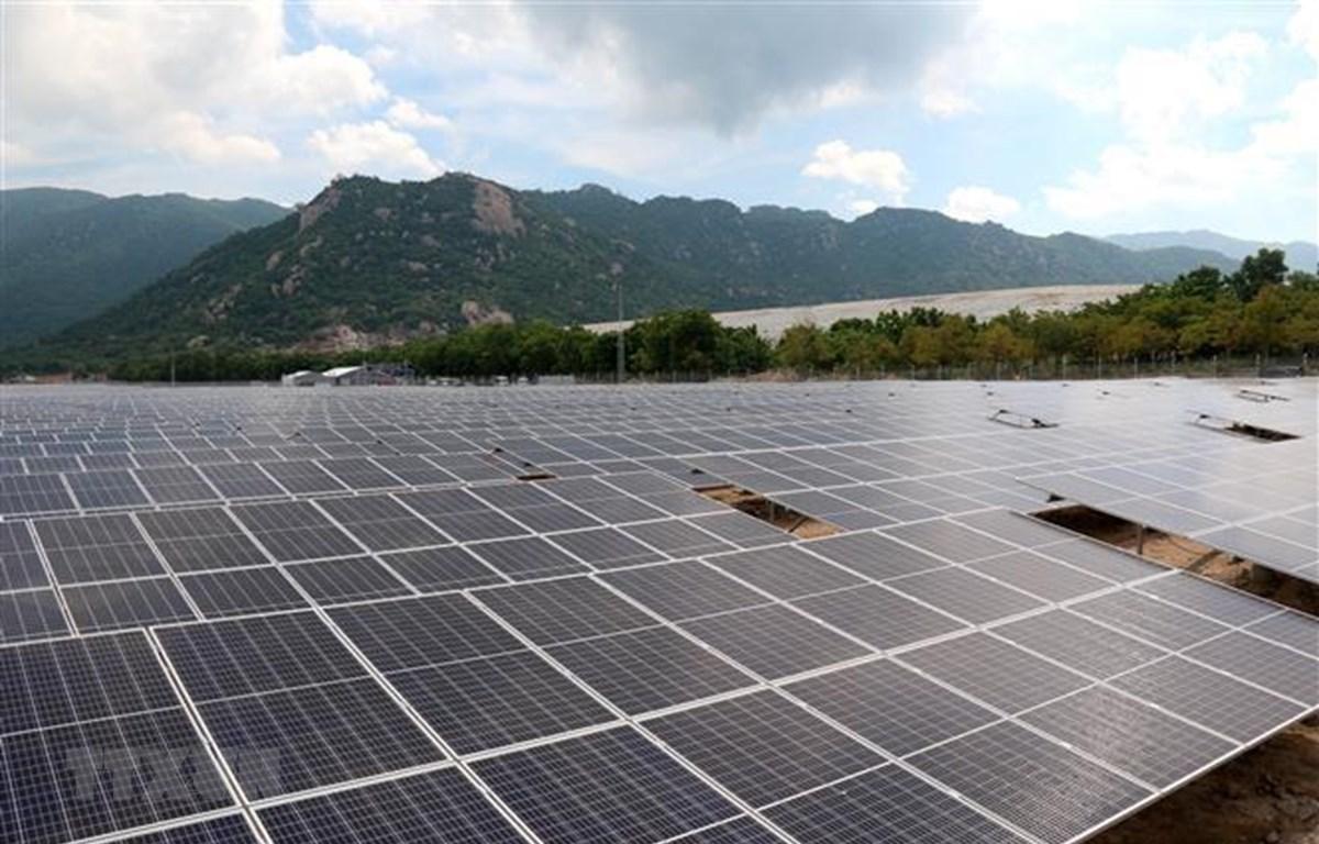 Nhà máy điện mặt trời Vĩnh Tân 2 có công suất lắp đặt 42,65 MWp với tổng mức đầu tư 986,2 tỷ đồng. (Ảnh: Nguyễn Thanh/TTXVN)