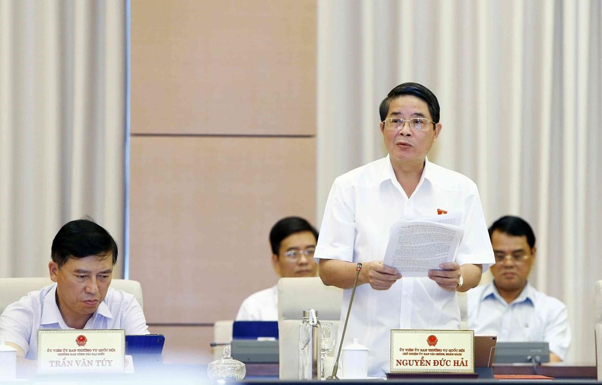 Chủ nhiệm Ủy ban Tài chính, Ngân sách của Quốc hội Nguyễn Đức Hải, Trưởng đoàn Giám sát của Uỷ ban Thường vụ Quốc hội trình bày báo cáo. (Ảnh: Văn Điệp/TTXVN)