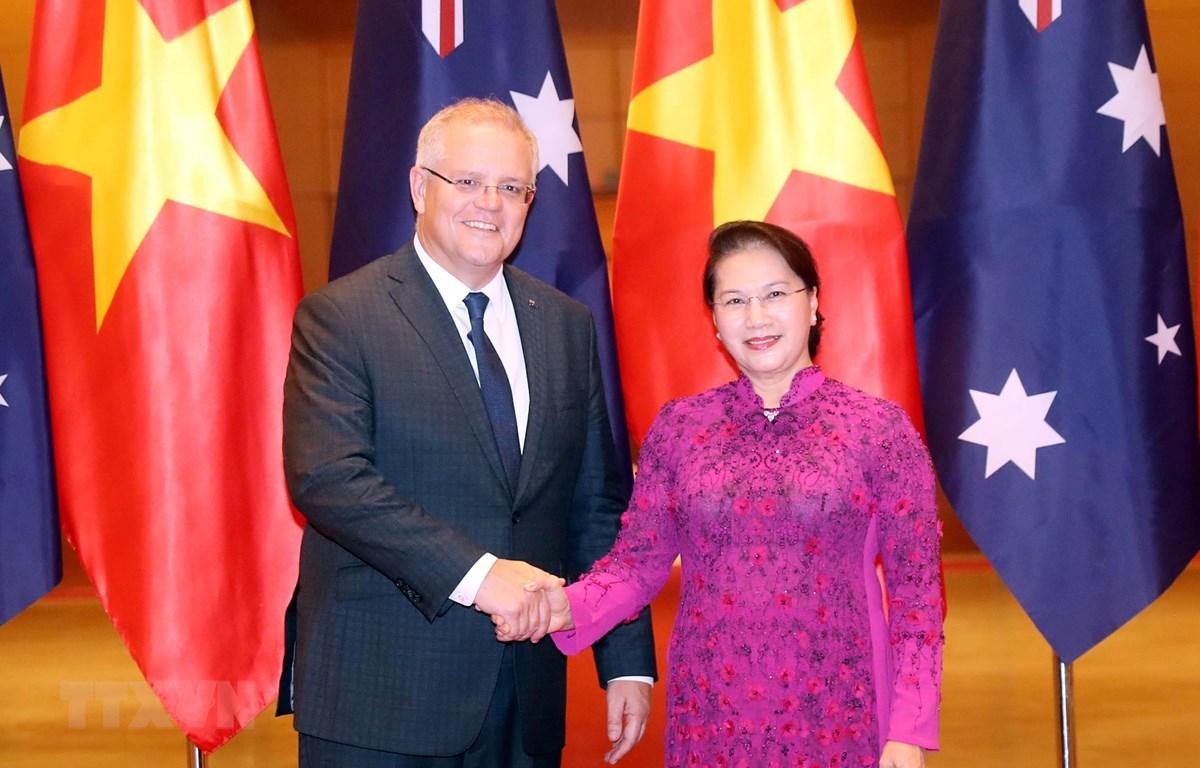 Chủ tịch Quốc hội hội kiến Thủ tướng Australia Scott Morrison. (Ảnh: Trọng Đức/TTXVN)