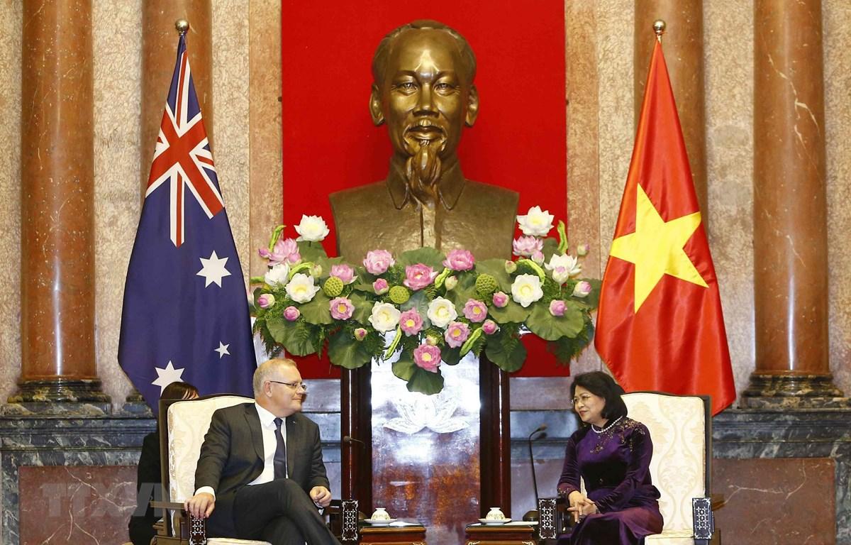 Phó Chủ tịch nước Đặng Thị Ngọc Thịnh hội kiến Thủ tướng Australia Scott Morrison. (Ảnh: Văn Điệp/TTXVN)