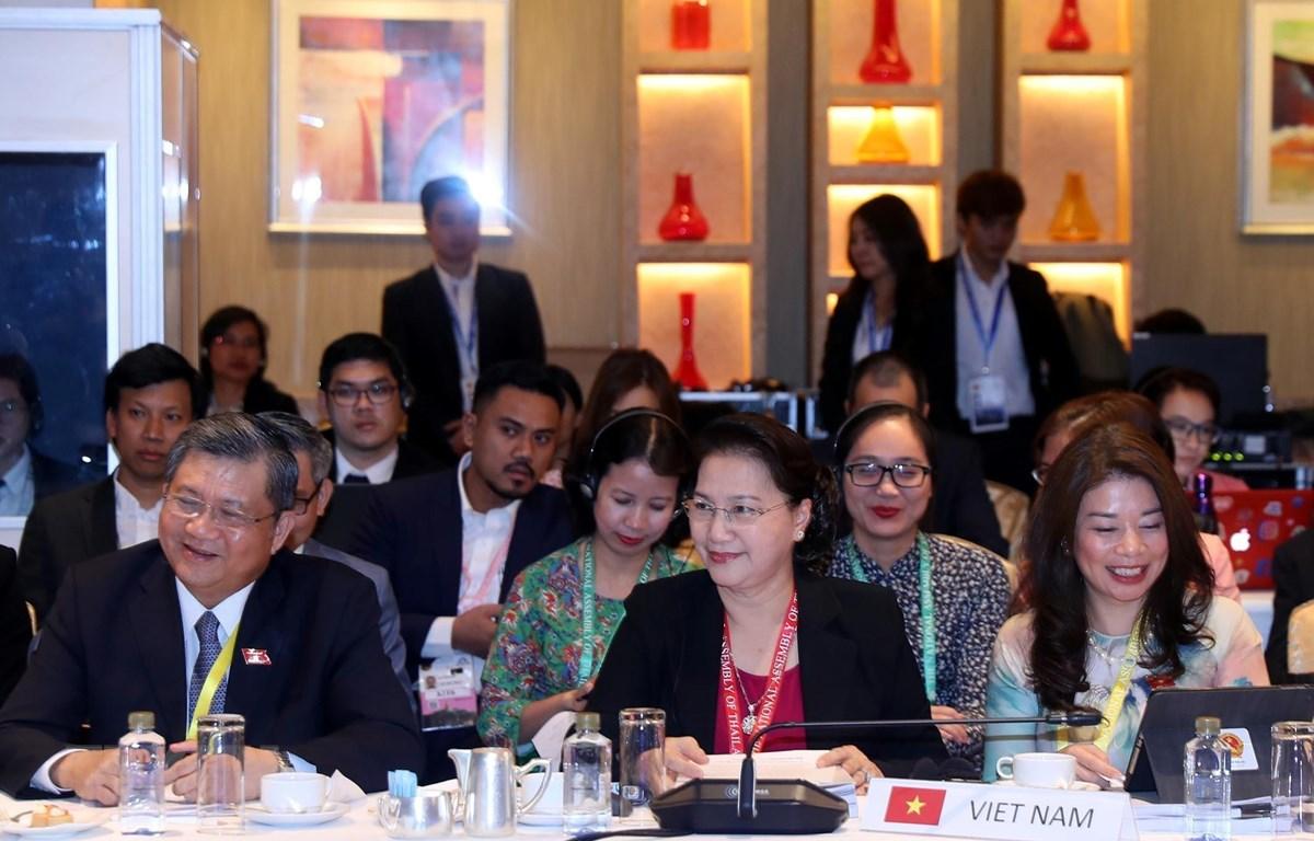 Chủ tịch Quốc hội Nguyễn Thị Kim Ngân cùng đoàn đại biểu Quốc hội Việt Nam tham dự phiên họp. (Ảnh: Trọng Đức/TTXVN)
