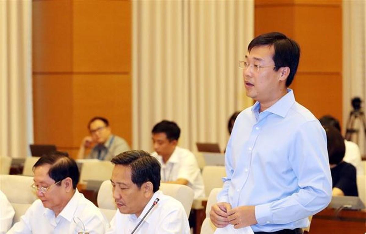 Bí thư thứ nhất Trung ương đoàn TNCS Hồ Chí Minh Lê Quốc Phong phát biểu ý kiến. (Ảnh: Trọng Đức/TTXVN)