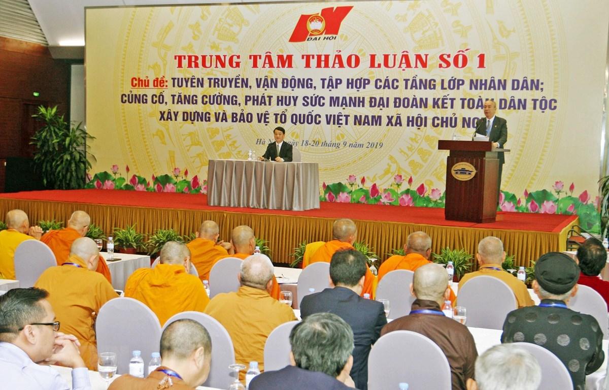 Các đại biểu tham gia phiên thảo luận về chủ đề: Tuyên truyền, vận động, tập hợp các tầng lớp nhân dân; củng cố, tăng cường, phát huy sức mạnh đại đoàn kết toàn dân tộc, xây dựng và bảo vệ Tổ quốc Việt Nam xã hội chủ nghĩa. (Ảnh: TTXVN)