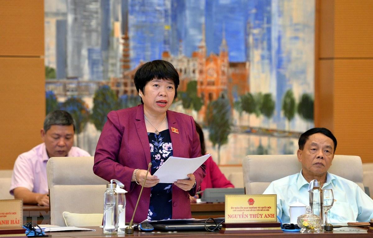 Chủ nhiệm Ủy ban các vấn đề Xã hội của Quốc hội Nguyễn Thúy Anh trình bày báo cáo tại phiên họp. (Ảnh: Trọng Đức/TTXVN)