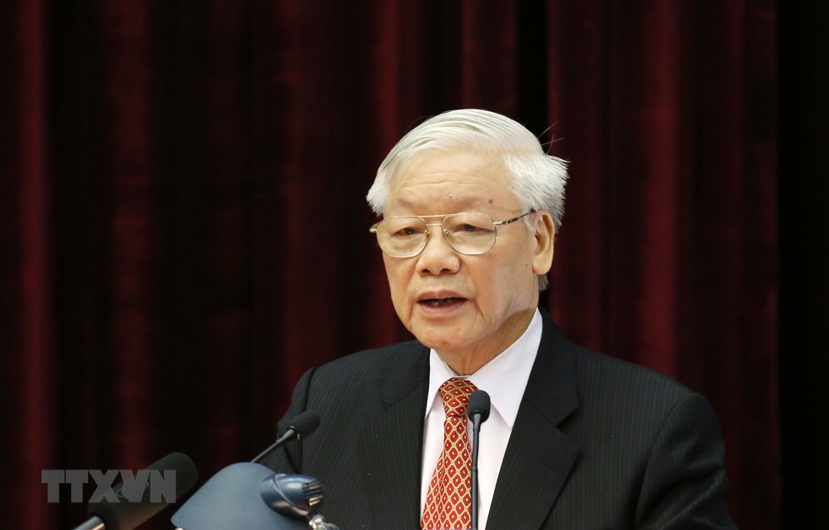 Tổng Bí thư, Chủ tịch nước Nguyễn Phú Trọng phát biểu bế mạc hội nghị. (Ảnh: Phương Hoa/TTXVN)