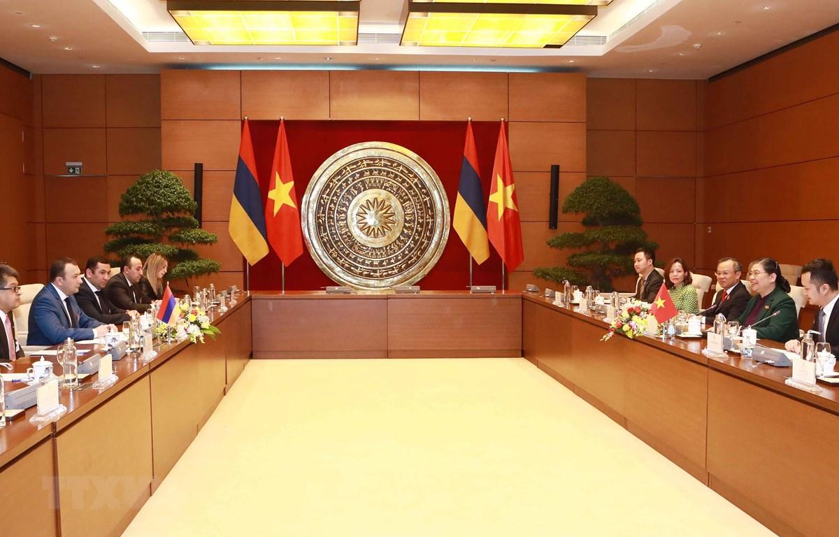 Phó Chủ tịch Thường trực Quốc hội Tòng Thị Phóng hội đàm với Phó Chủ tịch Quốc hội nước Cộng hòa Armenia. (Ảnh: Doãn Tấn/TTXVN)