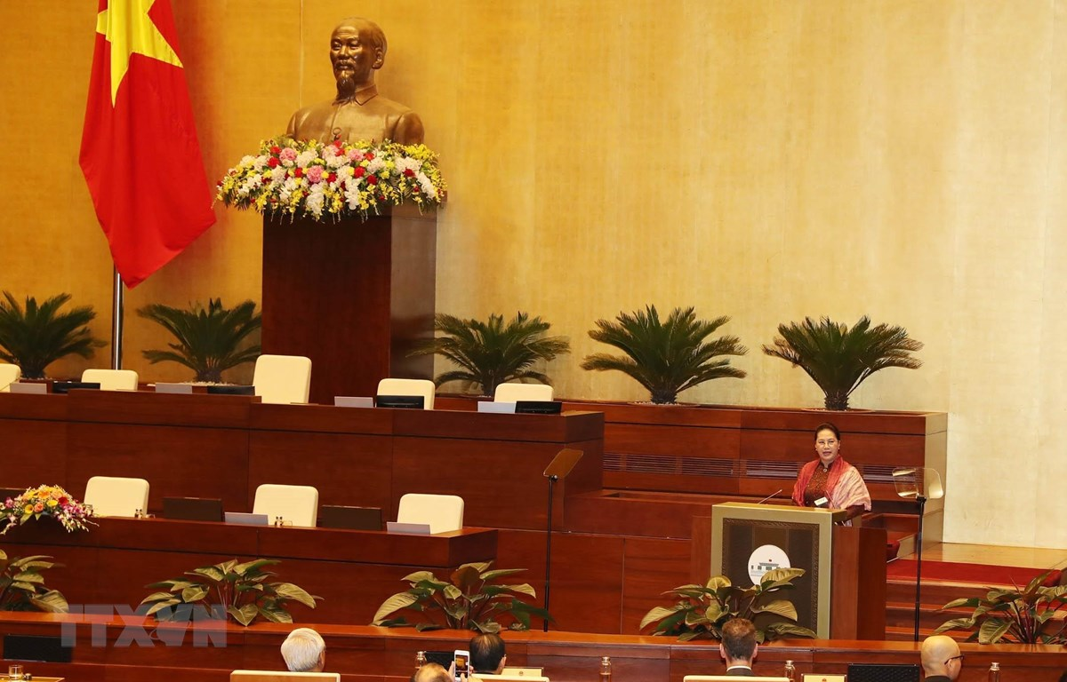 Chủ tịch Quốc hội Nguyễn Thị Kim Ngân phát biểu tại Hội nghị. (Ảnh: Trọng Đức/TTXVN)
