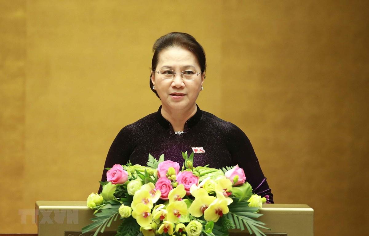 Chủ tịch Quốc hội Nguyễn Thị Kim Ngân phát biểu Bế mạc kỳ họp. (Ảnh: Doãn Tấn/TTXVN)