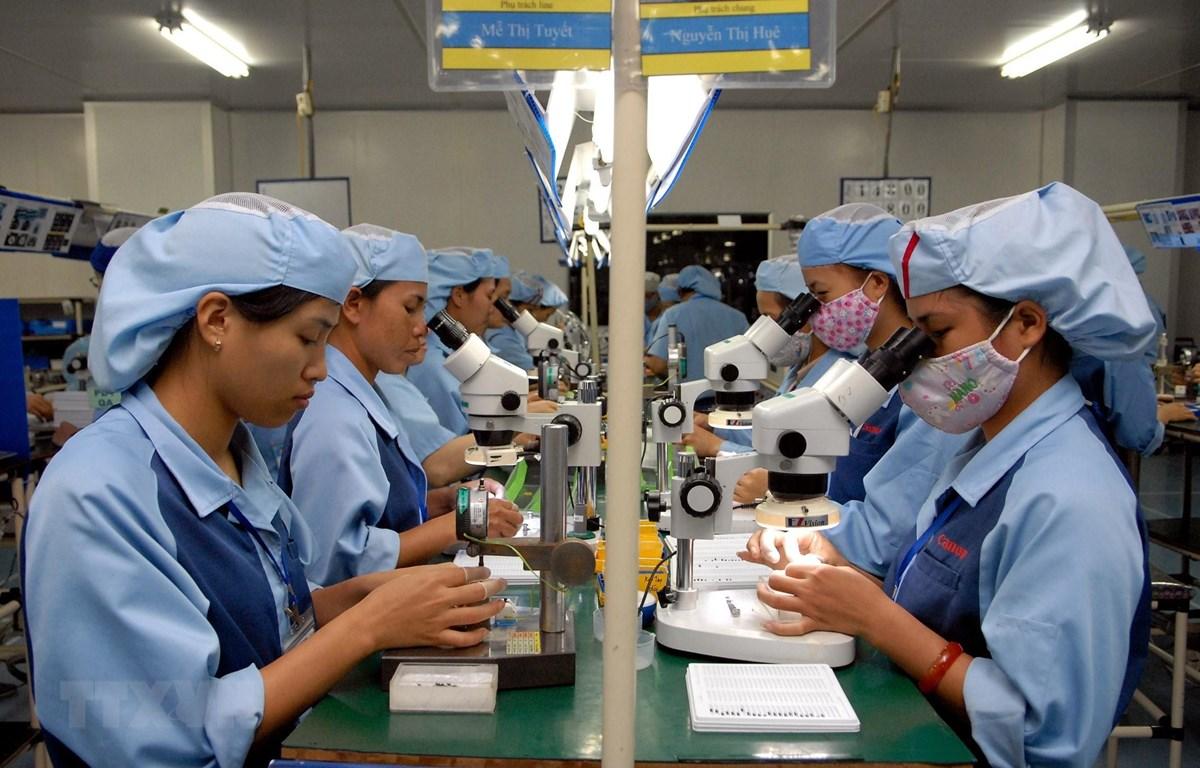 Công nhân sản xuất linh kiện điện tử tại Nhà máy Canon có vốn đầu tư Nhật Bản thuộc Khu Công nghiệp Phố Nối A. (Ảnh: Phạm Kiên/TTXVN)